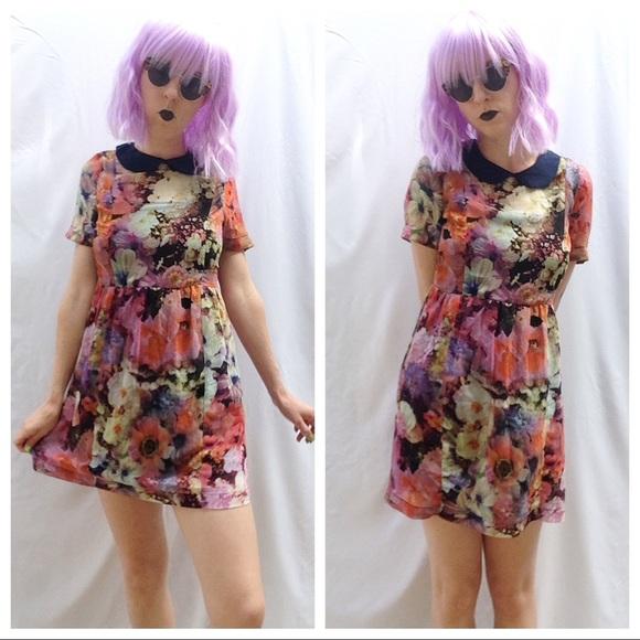 Dresses   Skirts - Floral Babydoll Peter Pan Collar Skater Dress 279b3c370